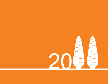 dekor: orange background for New Year with numbers and two carrots of white color