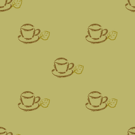 from little cups expecting a jointless background or coffee with leaves Vector