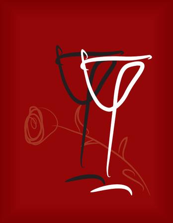 likeur: twee wineglasses zwart-wit met een roos op een donker rode achtergrond