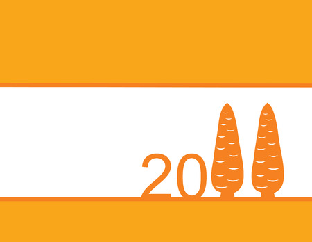 dekor: orange and white background for New Year with numbers and two carrots of orange color Illustration