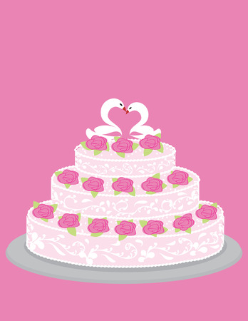 Wedding cake with roses and pair of in love swans in a technique aysing Vector