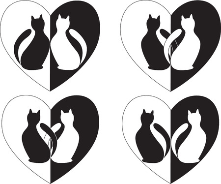 Two in love cats and heart are in a few variants Vector