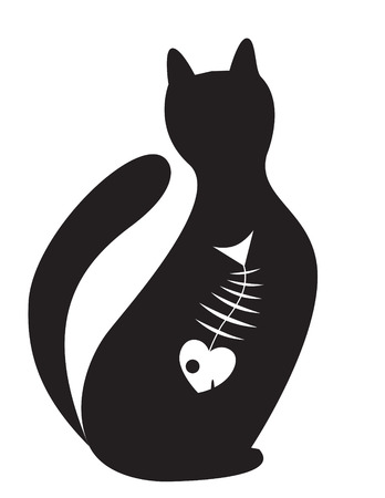 inwardly:  silhouette of cat with the skeleton of fish inwardly