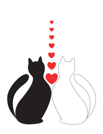 In Love cats sit with hearts