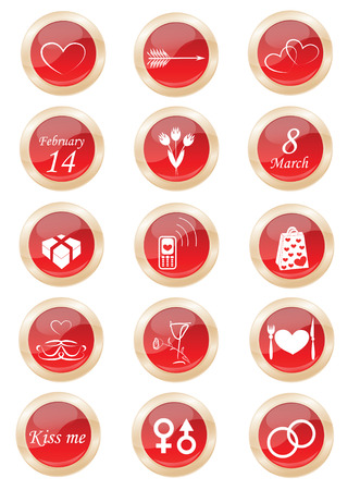 set buttons on the love theme Stock Vector - 8718747