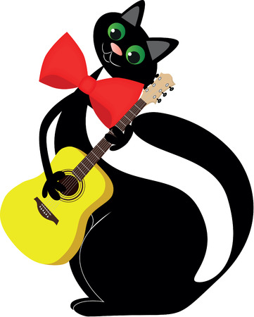In love black cat with a guitar in paws