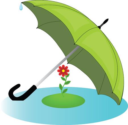 Una flor roja poco oculta de un mal tiempo bajo un gran paraguas verde Ilustración de vector