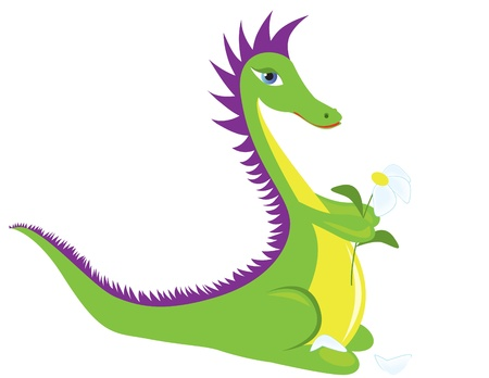 A green dragon guesses on a camomile.