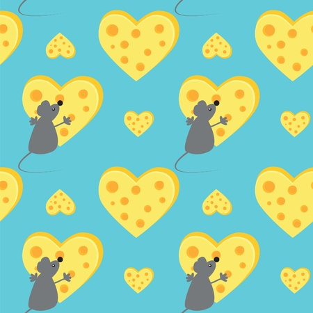mouse and cheese heart Vector