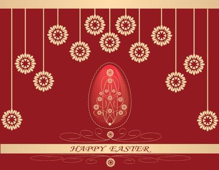 easter egg in background of flowers Vector