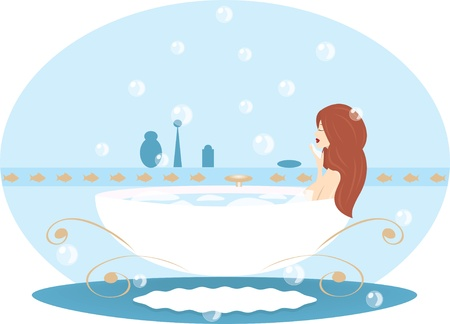woman washing face: a womangirl takes a bath