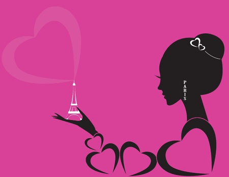 girl with eiffel tower Illustration