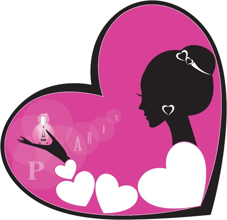 silhouette of girlwoman with French perfumes