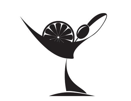 copa de martini: Oliva, lim�n y martini Vectores
