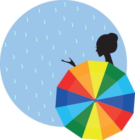 girl, woman with an umbrella in the rain Иллюстрация