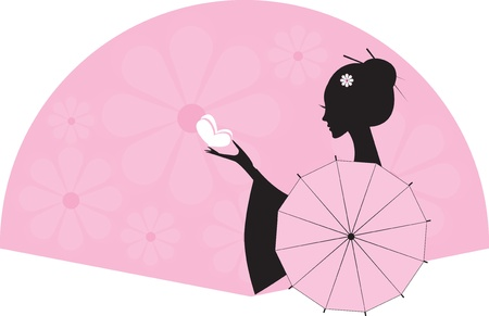 colour fan:  girl, woman with an umbrella and butterfly