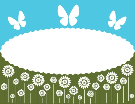 background with flowers and butterfly Illustration