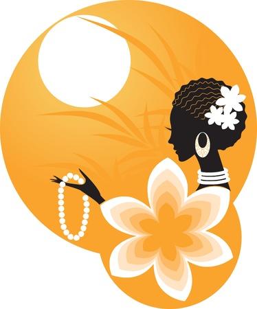 Girlvrouw van Afrika Stock Illustratie
