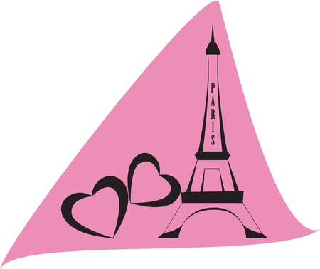 french culture: eiffel tower of Paris on pink backround Illustration