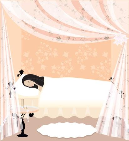 ersch�pft: M�dchen  Frau schlafen auf dem Bett Illustration