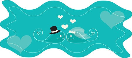 pair whales on sea Vector
