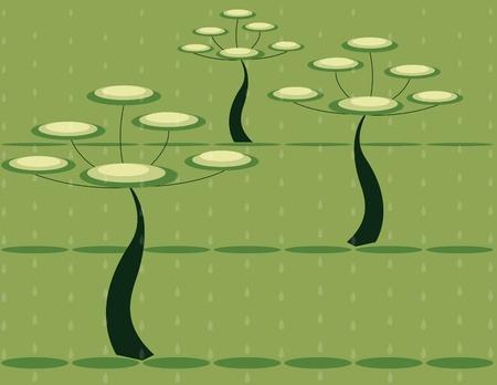 fond avec des arbres abstraites sur la pluie