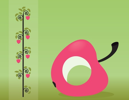 background with apple and abstract tree Vector