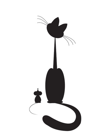 cat and mouse sit and look Vector