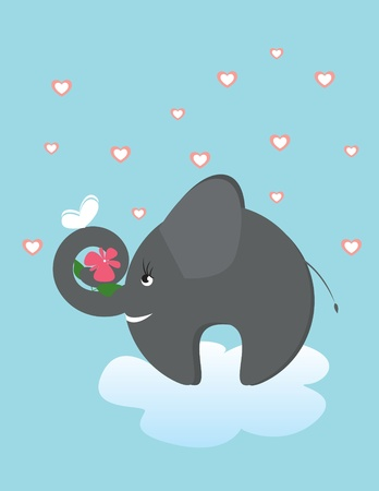 elefant and butterfly on cloud on sky Vector