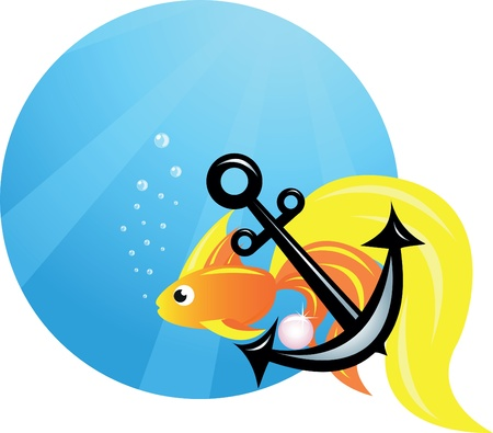 fish and anchor on sea/ocean Stock Vector - 9808830