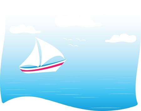 sea and yachts Vector