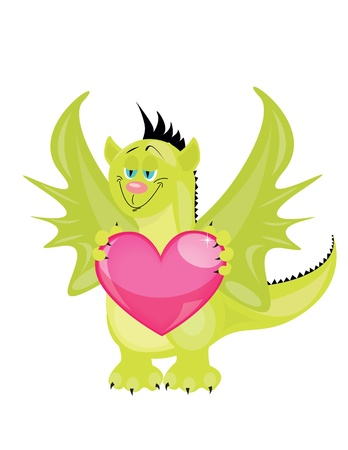 dragon with heart Vector