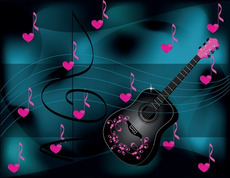 background with guitar and heart Vector