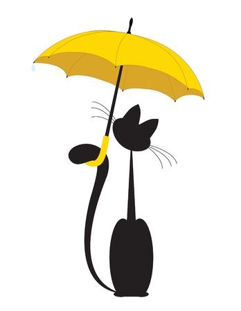 Kot w parasol Ilustracje wektorowe