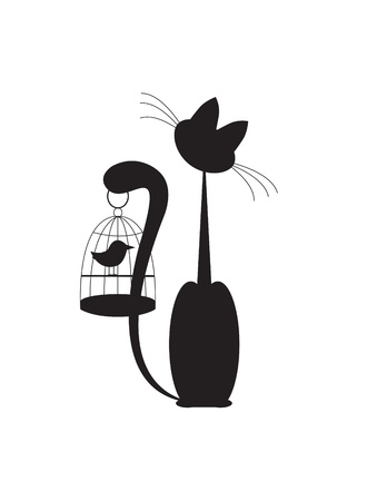 Cat and Bird Silhouette Black Stock Vector - 9931736