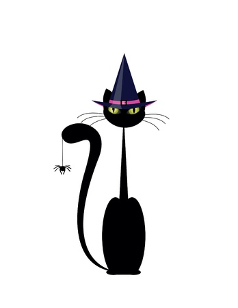 Halloween cat with hat and spider Vector