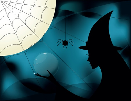 Silhouettes of sexy witches on halloween photo
