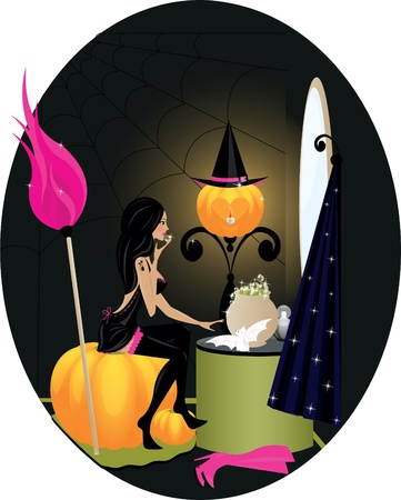 brooms: witch in room wih bat, broom, hat and pumpkin Illustration