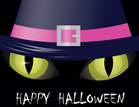 witch face: Cat Eyes On Black Background for halloween Illustration