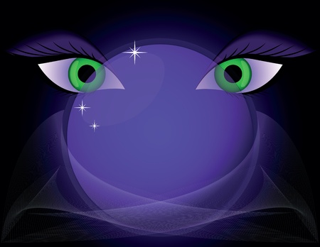 magic crystal ball and eyes on abstract backgrounds Stock Photo