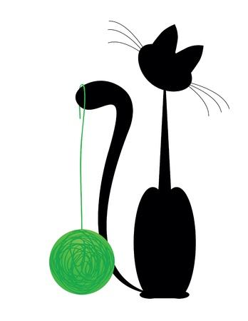 silueta de gato: gato negro con bola verde sobre fondo blanco