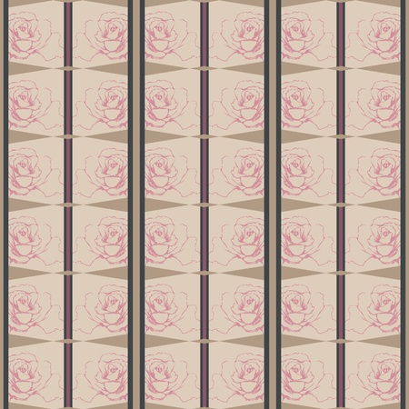 flowers seamless pattern with gold,  pink and grey Lines Vector
