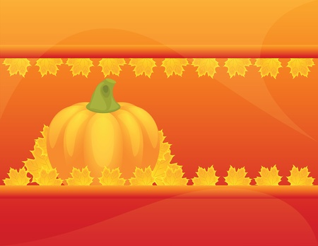 Autumn Pumpkins and leaves on autumn background Vector