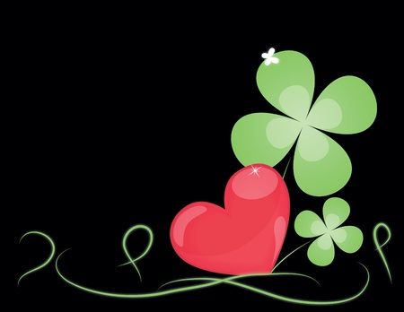 background with big Heart and sheets clover.