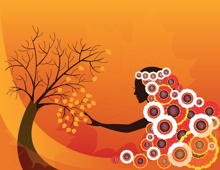 cool girl: Elegant abstract  autumn girl or woman