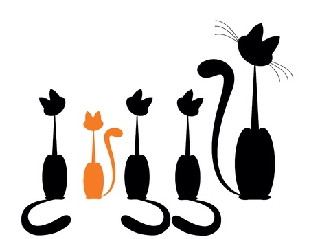 Black cat silhouette for your design and one red Vector