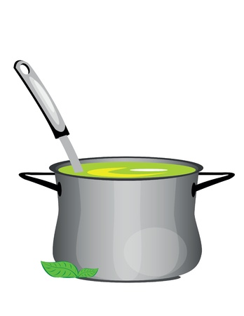 broth: illustration of isolated hot soup pan on white background