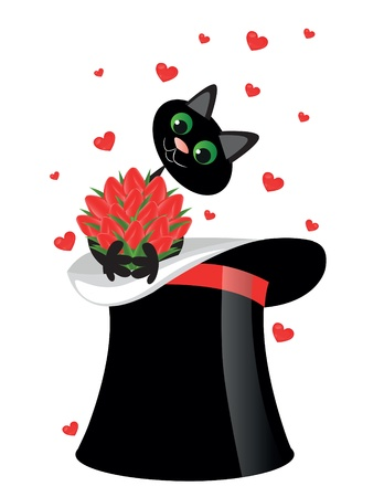 cat holding a flowers   Vector