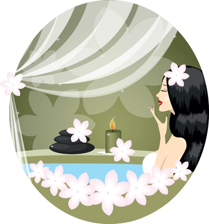 spa candles: girl or woman relaxing in bath with flowers