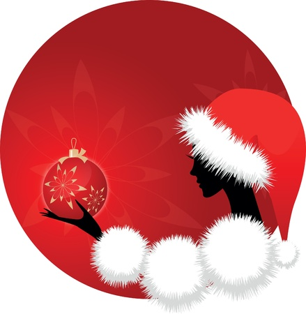 Christmas girl or woman with ball on red background Illustration